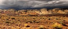 Desert Storm Panorama (arbyreed) Tags: panorama storm rain rock dark desert brush sage rockformations darksky smoothrocks mormontea arbyreed desertthunderstorm