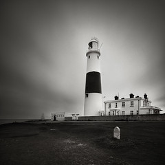 Lighthouse Centre (Andy Brown (mrbuk1)) Tags: longexposure lighthouse tower buildings square landscape mono blackwhite moody cloudy grain stripe overcast dorset filters milestone trinityhouse headland portlandbill splittone jurassiccoast neutraldensity 10stop