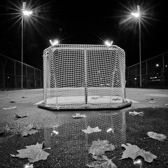 Empty Net (Alan Drake) Tags: light blackandwhite bw fall net hockey leaves night court square leaf nikon d7000