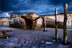 Unforgotten (EXPLORED #2) (Romain Matte Photography) Tags: blue seascape france beach french coast wwii bunker hour multiple coastline bluehour cote plage romain dri hdri heure francais bleue francophone blending exposures wissant mattei opale heurebleue frenchphotographer canon5dmkii