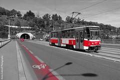 Touch of Red (AreKev) Tags: bridge red river blackwhite europe prague bridges tram praha czechrepublic bohemia vltava europeanunion selectivecolour vltavariver cechuvmost sonydschx20v