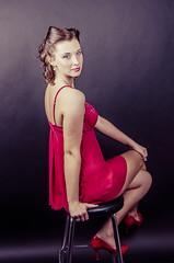 Lauren (Winking Owl Photography) Tags: lighting red portrait woman girl beauty fashion canon vintage pose hair studio lens rebel glamour angle wide makeup headshot retro portraiture boudoir pinup lemondrop t2i canont2i