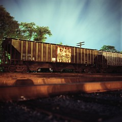 Con Agra Hopper (xbrucexx) Tags: camera color tlr film bulb night train print lens reflex long exposure kodak release twin cable iso mat 124g 100 mode yashica railfan freight twinlensreflex yashicamat124g ektar c41
