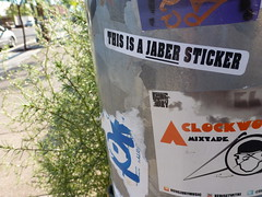 JABER (QsySue) Tags: streetart digital lumix graffiti sticker downtown lasvegas panasonic pointandshoot digitalcamera sincity artsdistrict slaps jaber digitalpointandshoot panasoniclumixdmczs8 thisisajaberpictures