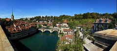 Panorama~Bern~ (PS~~) Tags: old city blue sky panorama alps tower clock barn river landscape photography switzerland town europe view swiss albert einstein aerial unescoworldheritagesite bern berne berna zytglogge   zhringen nydeggbrcke    bertholdv     bernmittellandadministrativedistrict