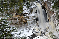 Winter at Miners Falls (Michigan Nature Photog) Tags: trees winter white snow cold water waterfall michigan flowing upperpeninsula picturedrocks nikond7000