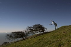 Windy sleepwalk (Alex Bamford) Tags: trees cold sussex wind hill windswept pyjamas jimjams beachyhead sleepwalking wwwalexbamfordcom