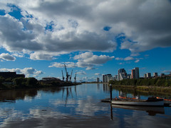 Doon tha Water (SPMac) Tags: blue water clouds reflections river scotland clyde boat skies crane glasgow tha pontoon govan barclay doon clydeside curle