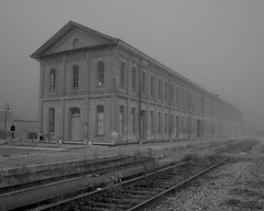 Stalwart Station (jah32) Tags: railroad bw ontario canada fog blackwhite foggy tracks railway trains monotone historic trainstation stthomas cmwdbw