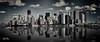 Manhattan Skyline (bgspix) Tags: city nyc bw usa ny newyork reflection brooklyn america canon us blackwhite cityscape manhattan reflect eastriver bigapple lowermanhattan desaturate skycrapper skylie eos60d ef70200mmf28lisiiusm