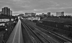East Croydon (Steve Denny) Tags: blackandwhite bw clouds train buildings sony traintracks surrey trainstation manual southlondon eastcroydon timedexposure a300