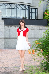 day238-01 red mini cardigan & white race onepiece (Yumiko Misaki) Tags: red white race mini crossdressing transgender transvestite crossdresser cardigan day232 day238 day239 transsexsual lodispotto opepiece