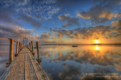 Sunrise over the Fiord (Jacob Surland) Tags: morning summer water clouds sunrise reflections landscape denmark boat jetty fineart raft fiord hdr highdynamicrange roskilde warmlight fineartphotography landskab calmwater smoothwater caughtinpixels jacobsurland