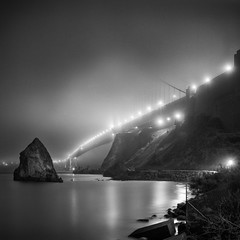 Golden Gate Bridge In Fog, San Francisco, California (Sebastian (sibbiblue)) Tags: sanfrancisco california longexposure morning blackandwhite usa mist film fog night analog square bay kodak scan hasselblad hybrid tmax100 500cm kodaktmax100 bsquare rockss 8planar zeiss2 zeiss28planar acurol acuroln