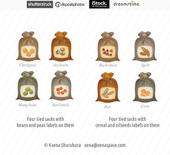 Tied sacks with cereal and oilseeds labels on them (ksena_shu) Tags: microstock stock design vector food sacks icons cereals beans illustration