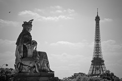 And the Eiffel (Ashwani Rathee) Tags: france paris eiffel tower bird statue bnw rpubliquefranaise