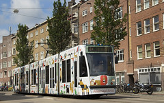 GVB Combino tram 2095, Lijn 14, Admiraal de Ruijterweg (Don Maskerade) Tags: gvb gemeentelijk vervoerbedrijf amsterdam tram world of trams ov openbaar vervoer public traffic transport transportation nederland the netherlands dutch railway holland strassenbahn stadsvervoer advertisement commercial combino 2095 artis admiraal ruijterweg
