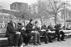 Lunch (Kevin Attermeier) Tags: 2015 bwfilm leica m6 street seattle film sandwich lunch pikeplace market food eating