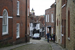 Walking Up (My photos live here) Tags: road cobbles buildings light lamp rye east sussex england town village canon eos 1000d