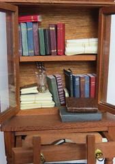 Miniature Bookcase (Foxy Belle) Tags: miniature dollhouse book colonial wooden accessories office make ooak handamde 112 handmade writing desk