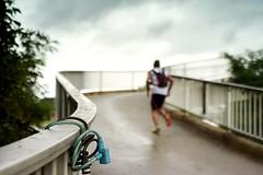 Escape (markus.homann) Tags: bridge cologne mlheimerhafen runner run bokeh nikkor50mm18ai nikond700