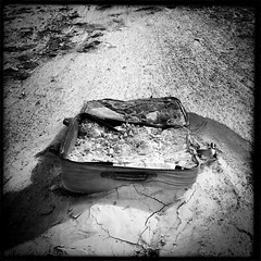 #baggage #riverlife #rillito (Xugardust) Tags: blackeyssupergrain johnslens baggage tucsonriver rillitoriver luggage hipstamatic iphone instagramapp square squareformat iphoneography