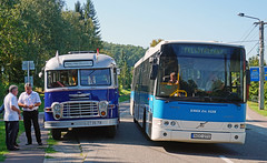 Ikarus 31 and Volvo (peter.velthoen) Tags: ikarus31 budapest1959 fantrip bus felstrkny busz outdoor vehicle car oldnew publictransport volvobus kmkkzrteger miskolcvrosikzlekedsizrt