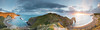 jurassic coast (Scott Howse) Tags: uk sunset sea england sunlight beach water grass bay coast nikon rocks glow cove cliffs unesco worldheritagesite lee dorset filters englishchannel lamanche durdledoor jurassiccoast ptgui stoswaldsbay 09h manowarcove d800e
