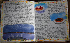 Travel Journal Second Page (noriko.stardust) Tags: travel summer vacation holiday france colour art illustration writing watercolor notebook french japanese sketch pages drawing diary illustrated letters cartoon journal craft blogger watercolour calligraphy entry journalling notebookism