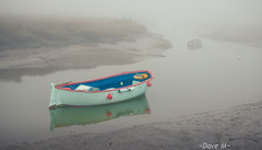 Calm. (David M:) Tags: uk trip travel blue autumn light red sea vacation england sky sunlight white mist holiday color colour reflection art english nature water beautiful beauty yellow misty fog composition contrast landscape boats countryside boat photo fishing nikon europe natural image britain weekend 4 country north norfolk foggy scenic picture scene structure nostalgia photograph british form split shape favourite tone minimalist available buoy tonal lightroom compose morston d5000