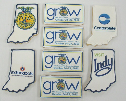[Image from Flickr]:Visit Indy, Center Plate, FFA logo cookies