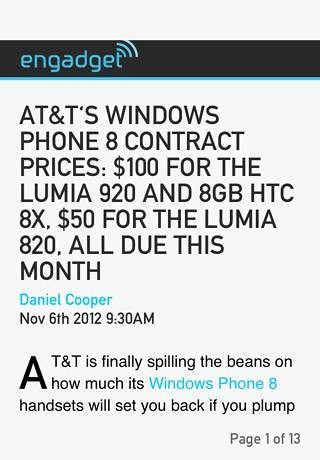 Article: AT&T's Windows Phone 8 contract prices: $100 for the Lumia 920 and 8GB HTC 8X, $50 for the Lumia 820, all due this month