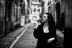 girl smoking in lane (gorbot.) Tags: glasgow roberta canoneos5d silverefex carlzeisszf50mmplanarf14