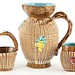 186. Italian Majolica Pitcher, Creamer, and Sugar
