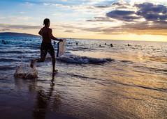 Charging out (theqspeaks) Tags: ocean park travel sunset sky 3 man beach water sport clouds canon hawaii is sand waves action dusk body board iii running maui boogie 5d hi splash bodyboarding kihei markii kamaole 24105 bodyboarder f4l canonef24105mmf4lisusm 5dm2 5dmk2 5dmii