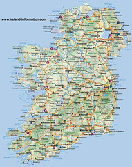 Ireland.- Detailed Map of Ireland. (mrvisk) Tags: irish northern loughs rivers cities tourist fishing art airports old county counties provinces ports bays boundaries harbours belfast dublin border green leprechauns land pots gold wishes fun craic island attractions blue main byways history emerald isle potatoes ulster leinster munster connacht people murals culture highways roads sligo galway londonderry bangor derry cottages castles proud co cork pic image shamrock st patricks day lough neagh christian westport