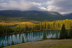 Break in the Clouds (dbushue) Tags: morning trees canada mountains nature clouds reflections river landscape nikon moody alberta atmospheric 2012 banffnationalpark bowvalleyparkway coth supershot absolutelystunningscapes d7000 damniwishidtakenthat dailynaturetnc12