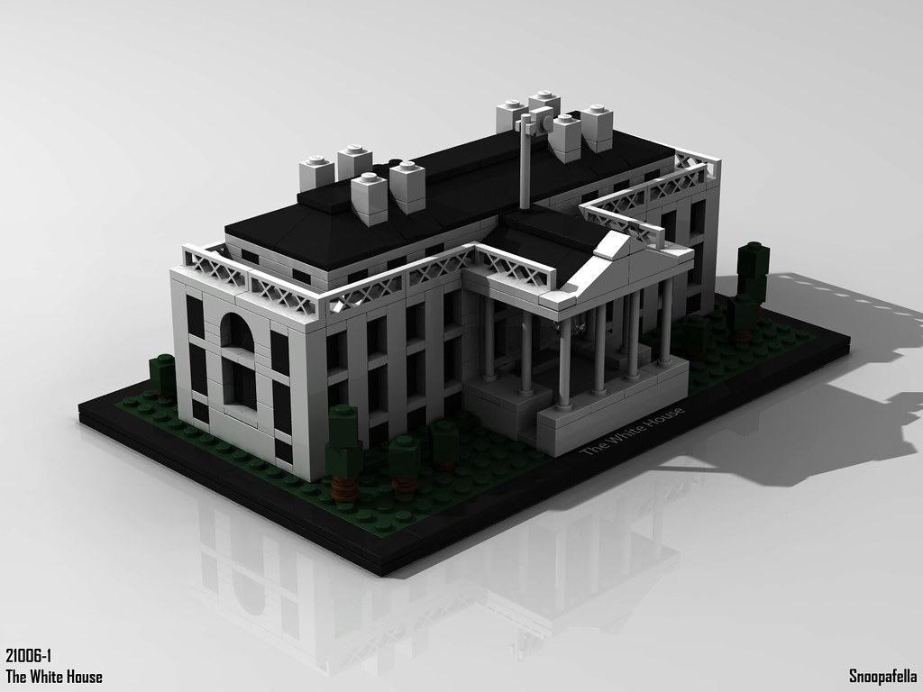 The Worlds Newest Photos Of Lego And Lgeo Flickr Hive Mind 21006 Architecture White House 1 Snoopafella Tags Povray Mlcad Ldraw