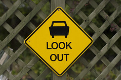 Look out ! (*Jilltoo) Tags: newzealand car sign warning fence watch vehicles nz getty