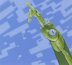 Hyalinobatrachium (roodogigeboomkikker) Tags: blue sky green illustration painting jasper artist acrylic squares finger surrealism paintings exhibition frog frogs illustrator groningen dots pointing treefrog figurative treefrogs realism oostland hyalinobatrachium