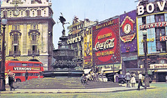 London - Piccadilly Circus in the 1960's (pepandtim) Tags: road street old london clock 1931 court joseph early lawrence 60s time furniture circus postcard great may piccadilly coke photographic guinness company nostalgia card pools co nostalgic cocacola van removal longines ltd greeting clacton batteries clocks rotary tottenham 1893 schweppes bovril contractors howland copes vernons everready 72lpc54