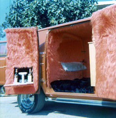 Bar & Bed in Dad's custom built Dodge (wambamashleyanne) Tags: california film kodak van 1970s furburger