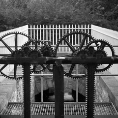 Stanley Mills (itmpa) Tags: slr mill industry monochrome museum canon square scotland industrial perthshire cogwheels cotton stanley crop castiron cropped desaturated cogwheel cogs mills railings historicscotland mechanism sluice hs 30d industrialarchaeology canon30d perthandkinross visitorattraction stanleymills tomparnell itmpa archhist