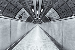 The Long Walk (Daniel Borg) Tags: england blackandwhite white black london canon underground vanishingpoint long unitedkingdom pov empty tube wideangle tunnel symmetry southbank waterloo trainstation tubestation londonunderground passageway canon1022 hintofcolour danielborg londontrainstation londonstation canon550d