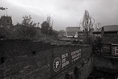 Negative Space (Saturated Imagery) Tags: urban blackandwhite iso100 bradford derelict wasteland selfdeveloped luckyshd100 vivitar28mmf25 prakticatl5b rolleid74