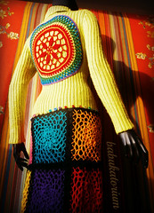 RainButton Crochet Mandala Upcycled Sweater Coat (babukatorium) Tags: pink flowers blue red orange black flower color green art wool fashion rose yellow vintage circle square star sweater rainbow colorful warm purple recycled handmade lace mosaic turquoise teal burgundy oneofakind coat crochet moda violet knit style mandala used button daisy hexagon hippie knitted patchwork psychedelic applique remake embellished cardigan bohemian doily multicolor striped octagon whimsical renew maglia haken hkeln emeraldgreen croch grannysquares ganchillo upcycled uncinetto handdecorated  tii horgolt babukatorium