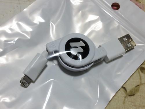 HORIC(Hi.PREGIO) iPhone5対応 Lightning ライトニング USBケーブル 80cm リールタイプ