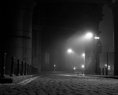 A certain meance pervaded the night - Empty Noir - Castlefield  - black and white (Mike07922) Tags: bridge urban blackandwhite art heritage industry water museum publicspace bar night manchester canal sandstone noir fort victorian conservation trains viaduct warehouse locks georgian cobbles derelict romanfort narrowboat romans castlefield rochdale closeddown bridgewater conservationarea simplyred yorkstone grocerswarehouse hucknall urbanregeneration pentaxk100d 1830warehouse merchantswarehouse samsunggx10 cinematicshot urbancrowd castefieldmanchestersnow nightsamsunggx10