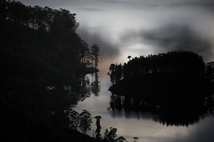 Lake Dream (huskyte77) Tags: red cloud lake black reflection tree water silhouette fog dark landscape grey mirror reisen day adams outdoor wave peak des sri lanka modified srilanka hue topaz wikinger icapture ratnapura 3317 schtze suedens sdens schaetze provinceofsabaragamuwa
