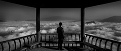 Clouds (Jonathan Kos-Read) Tags: china blackandwhite bw clouds pagoda alone yangtzeriver choice  chongqing sichuan challenge chinesepagoda  abovetheclouds chungking  cloudsea threegorgesdam chineseman wushan  chinalandscape  savedbythedeltemeuncensoredgrou nikond700 chinesemountain tamronsp28105mmf28ldasphericalif iceboxcool unanicool chinavista getpushed